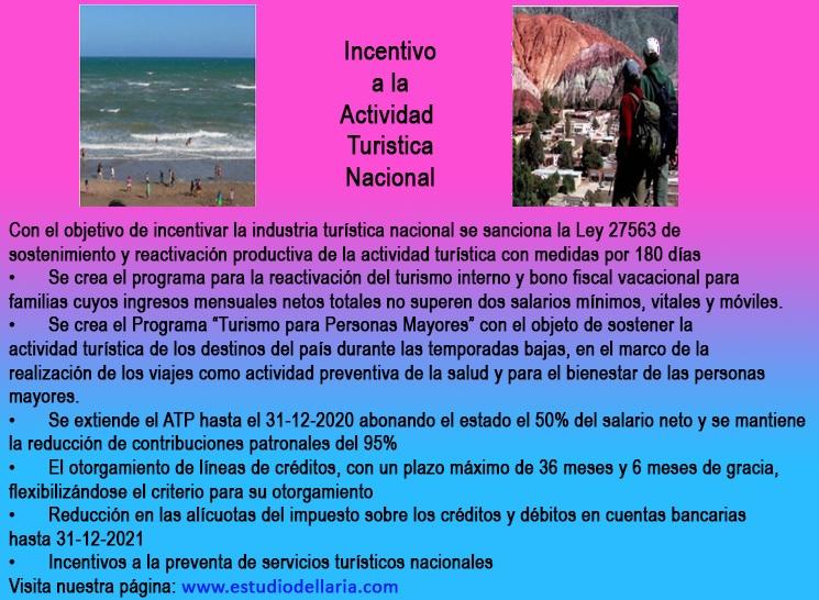 Ley 27563 de sostenimiento y reactivación productiva de la actividad turística